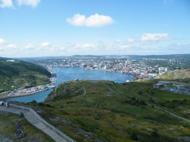 "The deep, protected, strategic harbor of St. John's, from atop Signal Hill. I think of St. John's as ""West Dublin"" because the local dialect sounds like an Irish brogue to me - so does the great wit and humor of the locals."