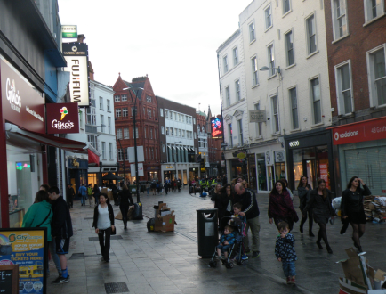 Dublin nightlife beginning to stir in the still-bright daylight of 9:00 pm.