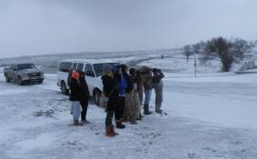 Cheap binocs useless here at Lake Carl Blackwell, OK during a snow squall.
