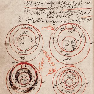 Persian astronomy. 15th-century manuscript written in the north-eastern Timurid Empire, now Central Asia, in the 15th century. The manuscript is a commentary on an earlier work from the 13th century. The author of the commentary is Salah al-Din Musa ibn Muhammad (1364-1436), also known as Qadi Zada. He worked in Samarkand, the Timurid capital, at the court of Ulugh Beg. Here, he is commenting on the famous Islamic astronomy work known as the 'Mulahhas fi al-Hay'a Al-Basita' ('The Compendium of Plain Astronomy'), written by Jighmini (died 1221). The text and diagrams describe the Earth and the orbits of the Sun and other planets.