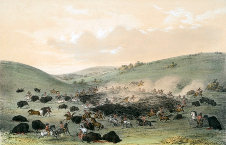 George Catlin's 19th Century paintings capturing various methods Native Americans employed to hunt bison illustrate the ingenuity, planning, and cooperation of humans focused on a common objective.